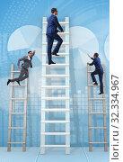 Купить «Career progression concept with various ladders», фото № 32334967, снято 5 июля 2020 г. (c) Elnur / Фотобанк Лори