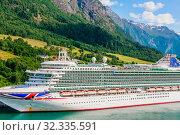 Купить «P&O Cruises cruise liner Ventura moored in Olden at the end of Innvikfjorden in western Norway», фото № 32335591, снято 7 августа 2020 г. (c) Николай Коржов / Фотобанк Лори