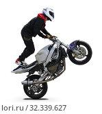 Купить «A motorcyclist performs a stunt on a sports motorcycle», фото № 32339627, снято 21 июля 2019 г. (c) Алексей Кузнецов / Фотобанк Лори
