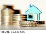 Купить «Символ недвижимости на фоне белых серебряных монет . Концепция изменеия рынков инвестиций .», фото № 32339635, снято 21 января 2020 г. (c) Сергеев Валерий / Фотобанк Лори