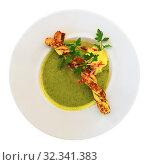 Купить «Top view of zucchini cream soup», фото № 32341383, снято 19 января 2020 г. (c) Яков Филимонов / Фотобанк Лори