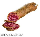Купить «Thin salchichon sausage slices on wooden background, view from above», фото № 32341391, снято 26 февраля 2020 г. (c) Яков Филимонов / Фотобанк Лори