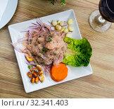 Купить «Peruvian ceviche from alaska pollock with onion and garlic», фото № 32341403, снято 20 ноября 2019 г. (c) Яков Филимонов / Фотобанк Лори