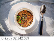 Купить «baked oat-blueberry crumble with mint in a white and blue plate on a rustic linen tablecloth. Save the space, top view. The concept of healthy proper nutrition for breakfast, vegetarianism.», фото № 32342059, снято 20 января 2019 г. (c) Tetiana Chugunova / Фотобанк Лори