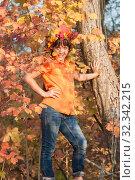 Купить «Девочка - осень», фото № 32342215, снято 26 октября 2019 г. (c) WalDeMarus / Фотобанк Лори