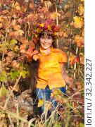 Купить «Девочка - осень», фото № 32342227, снято 26 октября 2019 г. (c) WalDeMarus / Фотобанк Лори