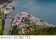 Купить «Aurland Village and Aurlandsfjord seen from Stegastein Overlook, The West Norwegian Fjords, Norway», фото № 32342715, снято 7 декабря 2019 г. (c) Николай Коржов / Фотобанк Лори
