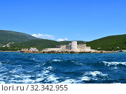 Купить «Zanitsa Monastery on an island in the Hercegnovsky Bay -part of Kotor Bay and the Mediterranean Sea. Montenegro», фото № 32342955, снято 10 июня 2019 г. (c) Володина Ольга / Фотобанк Лори