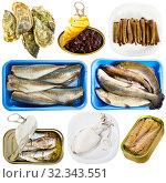 Купить «Set of assorted fish and seafood. Raw and semi-finished products», фото № 32343551, снято 13 ноября 2019 г. (c) Яков Филимонов / Фотобанк Лори