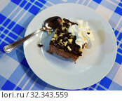 Купить «Slice of soft biscuit cake with cream and chocolate», фото № 32343559, снято 21 января 2020 г. (c) Яков Филимонов / Фотобанк Лори