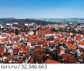 Top view of a small ancient town Nordlingen in Bavaria, Germany (2012 год). Стоковое фото, фотограф Наталья Волкова / Фотобанк Лори
