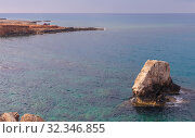 Купить «Rocky islet near Cyprus island», фото № 32346855, снято 16 июня 2019 г. (c) EugeneSergeev / Фотобанк Лори