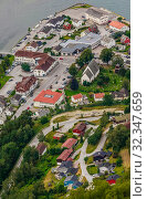 Купить «Aurland Villageseen from Stegastein Overlook, The West Norwegian Fjords, Norway», фото № 32347659, снято 6 декабря 2019 г. (c) Николай Коржов / Фотобанк Лори