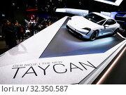 Купить «Porsche Taycan Turbo S», фото № 32350587, снято 18 сентября 2019 г. (c) Art Konovalov / Фотобанк Лори