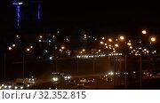 Купить «Night Car traffic highway city», видеоролик № 32352815, снято 1 июля 2018 г. (c) Mikhail Erguine / Фотобанк Лори
