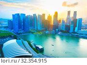 Купить «Aerial skyline of Singapore business Downtown at sunset», фото № 32354915, снято 15 ноября 2019 г. (c) easy Fotostock / Фотобанк Лори