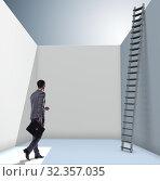 Купить «Businessman climbing a ladder to escape from problems», фото № 32357035, снято 11 декабря 2019 г. (c) Elnur / Фотобанк Лори