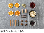 Купить «hot mulled wine, orange slices, raisins and spices», фото № 32357475, снято 4 октября 2018 г. (c) Syda Productions / Фотобанк Лори