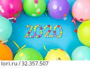 Купить «new year 2020 party date with balloons», фото № 32357507, снято 11 декабря 2018 г. (c) Syda Productions / Фотобанк Лори