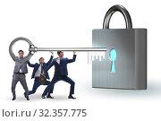 Купить «Businessmen unlocking new opportunity with key», фото № 32357775, снято 6 декабря 2019 г. (c) Elnur / Фотобанк Лори