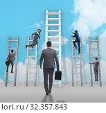 Купить «Career progression concept with various ladders», фото № 32357843, снято 5 июля 2020 г. (c) Elnur / Фотобанк Лори