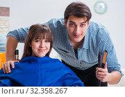 Купить «Man male hairdresser doing haircut for woman», фото № 32358267, снято 27 ноября 2017 г. (c) Elnur / Фотобанк Лори