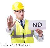 Купить «Construction supervisor with no asnwer isolated on white backgro», фото № 32358923, снято 29 мая 2017 г. (c) Elnur / Фотобанк Лори