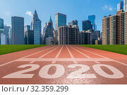 Купить «Year 2020 concept with running track», фото № 32359299, снято 7 декабря 2019 г. (c) Elnur / Фотобанк Лори