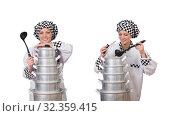 Купить «Cook with stack of pots on white», фото № 32359415, снято 30 января 2014 г. (c) Elnur / Фотобанк Лори