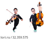 Купить «Funny man with violin on white», фото № 32359575, снято 13 мая 2013 г. (c) Elnur / Фотобанк Лори