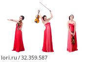 Купить «Young girl with violin on white», фото № 32359587, снято 10 мая 2013 г. (c) Elnur / Фотобанк Лори
