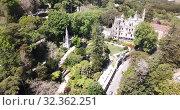 Famous Portuguese landmark Regaleira Palace in historic center of Sintra (2019 год). Стоковое видео, видеограф Яков Филимонов / Фотобанк Лори