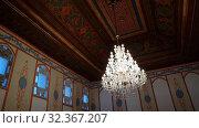 Bakhchisaray, Crimea - July 2.2019. Interior in Divan Hall - State Council Meeting Room - in the Khan Palace. Редакционное видео, видеограф Володина Ольга / Фотобанк Лори