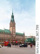 Rathausmarkt, Hamburg City Hall, Germany (2018 год). Стоковое фото, фотограф EugeneSergeev / Фотобанк Лори