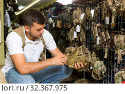 Купить «Male customer choise textile cover for air gun», фото № 32367975, снято 4 июля 2017 г. (c) Яков Филимонов / Фотобанк Лори