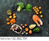 Brain Food concept, copy space, top view. Стоковое фото, фотограф Ольга Сергеева / Фотобанк Лори