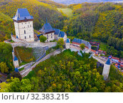 Купить «View of medieval castle Karlstejn Castle. Czech Republic», фото № 32383215, снято 10 октября 2019 г. (c) Яков Филимонов / Фотобанк Лори