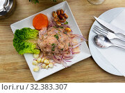 Купить «Seafood ceviche from hake with onion and vegetables», фото № 32383307, снято 12 ноября 2019 г. (c) Яков Филимонов / Фотобанк Лори