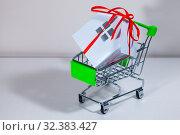 Купить «House with a gift ribbon in a shopping cart.», фото № 32383427, снято 27 октября 2019 г. (c) Елена Блохина / Фотобанк Лори