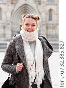 Купить «positive girl teenager in the city in scarf», фото № 32385827, снято 11 ноября 2017 г. (c) Яков Филимонов / Фотобанк Лори