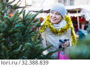 Купить «Woman is preparing for Christmas and choosing X-mas tree», фото № 32388839, снято 21 декабря 2017 г. (c) Яков Филимонов / Фотобанк Лори