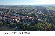 Купить «Aerial view on the city Telc. Czech Republic», видеоролик № 32391259, снято 12 октября 2019 г. (c) Яков Филимонов / Фотобанк Лори