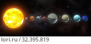 Solar system planets set. The Sun and planets in a row on universe stars background.Elements of this image furnished by NASA. Стоковое фото, фотограф Maksym Yemelyanov / Фотобанк Лори