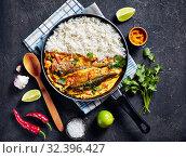 Купить «Yellow curry, Panang curry with Grilled Saba fish», фото № 32396427, снято 11 сентября 2019 г. (c) Oksana Zh / Фотобанк Лори