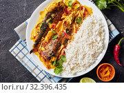 Купить «Yellow curry, Panang curry with Grilled Saba fish», фото № 32396435, снято 11 сентября 2019 г. (c) Oksana Zh / Фотобанк Лори