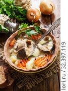 Купить «Fish sterlet soup», фото № 32397119, снято 13 марта 2019 г. (c) Надежда Мишкова / Фотобанк Лори