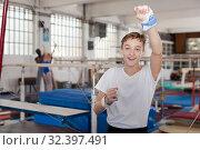 Купить «Portrait of happy teenage athlete», фото № 32397491, снято 17 января 2019 г. (c) Яков Филимонов / Фотобанк Лори