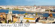 Panorama of Budapest with Hungary Parliament (2017 год). Стоковое фото, фотограф Яков Филимонов / Фотобанк Лори