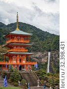 Купить «Three Story Pagoda of Seigantoji Temple with the Nachi fall on the background. Wakayama. Japan.», фото № 32398431, снято 27 октября 2007 г. (c) Serg Zastavkin / Фотобанк Лори