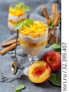 Rice pudding with nectarine. Delicious breakfast. Стоковое фото, фотограф Марина Сапрунова / Фотобанк Лори